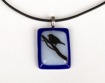 Fused Glass Pendant Necklace - Bird on a Branch - Blue and White Glass - Handmade Glass Pendant - Nature Jewelry