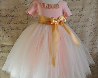 Flower Girl tutu for girls. Tulle skirt. Ivory  and antique pink long tutu with gold sash waist and bow. Available in several colors