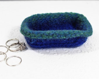 Mini Blue Wool Ring Bowl, Knit Felt Ring Bowl, Green Felt Ring Bowl, Small Knit Ring Bowl, Eco Friendly Wool Bowl, Purple Wool Bowl