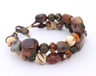 Chunky Brown Statement Bracelet, Tribal Bracelet, Gemstone Bracelet