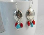 Red Coral and Turquoise Chandelier Earrings Bohemian dangle earrings silver earrings Sterling Earwires