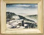 Watercolor Landscape , Painting , Winter Scene , Mountains , Original Art , Fine Art , Landscapes , Hand Painted , Blues , Framed Art , Art