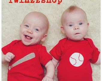 "Baseball Twin set ""Bat and Ball"", Twin set of baby bodysuits, great baby shower gift for twins,"