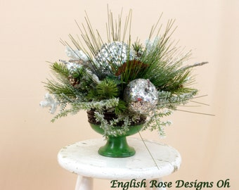 Green and Silver Centerpiece, Christmas Decor, Christmas Centerpiece, Silver Arrangement, Holiday Centerpiece