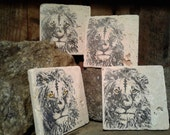 NATURAL STONE COASTERS... *Majestic Lion*    Set Of Four... Free Shipping