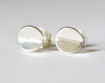 Silver Bent Circle Studs - Small Sterling Silver Circle Earrings - Nickel Free Origami Earring Studs - Made In Brooklyn by Hook & Matter