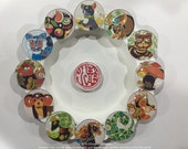 Chinese Zodiac Magnets, 1.5 inch Round Glass Magnets