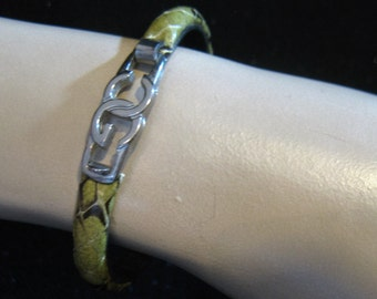 "Vintage CG Scuola del Cuoio Firenze Italy Python Skin Bracelet, 6 1/4"""
