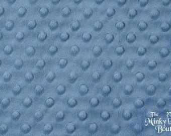 Minky Dot Fabric - Denim