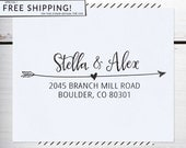 Custom Address Stamp, Return Address Stamp, Wedding , Christmas gift, Calligraphy Address Stamp, Self inking or Eco Mount stamp - Stella