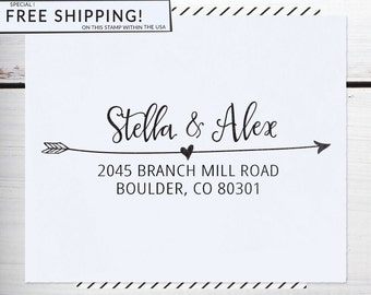 Return Address Stamp, Custom Address Stamp, Wedding , Christmas gift, Calligraphy Address Stamp, Self inking or Eco Mount stamp - Stella