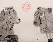 Tiger, Cheetah Drawing, Original Pencil Illustration, Hanging Sculpture, Air Dry Clay, Original Artwork, Mixed Media, Wall Ornament, Ceramic