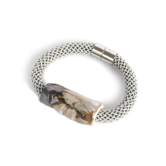 Rope bracelet with ARTISAN bead and grey satin cord, grey brown bronze glaze ceramic porcelain, silver magnetic clasp