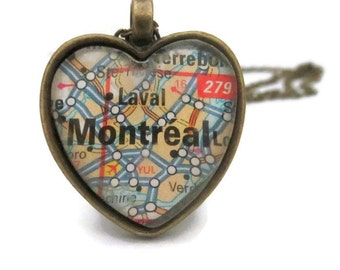 Montreal Map Necklace, Canada Necklace, Heart Shaped Pendant with Chain, Bronzed or Silver