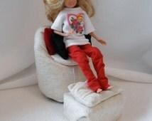 CHAIR Stuffed Fashion Doll size w Footstool n 3 pillows