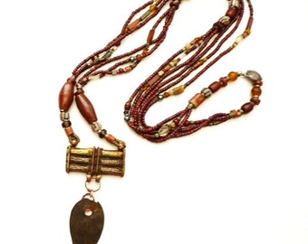 Vintage 1970s Handcrafted African Bead Necklace with Brass Pendant 48 Inches