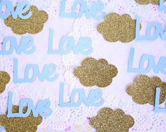 50 Confettis - Love & Cloud Confetti - Paper Confetti - Party - Baby Shower Confetti - Made to Order