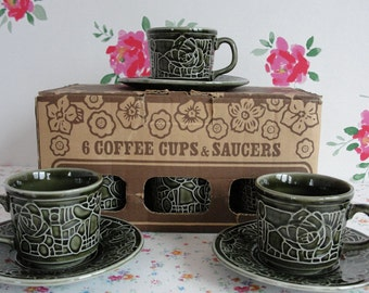 Set of 6 Vintage Ceramic Cups and Saucers in the Original Box - Tams made in England - Retro Kitchen Collectible
