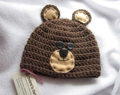 Brown Bear  Cap, Grizzly Bear Baby Hat, Bear Hat, Crochet Baby Beanie with Ears MADE TO ORDER by Charlene