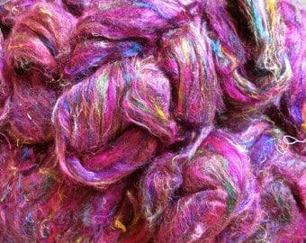 Cranberry Multi Recycled Sari Silk Sliver for Art Yarn Weaving Spinning & Felting