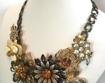 Reinvented Vintage Jewelry Bib Necklace by Ashlee Collection on Etsy