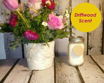 Driftwood Scented Candle, Mason Jar 16 oz. Candle, Soy Container Candle