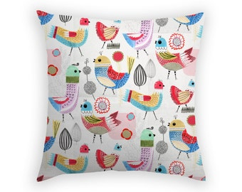 Pillow With Birds Throw Cushion Slip Sham Painted Birds Painted Collage Green Red Blue White Quirky Colorful Home Decor Australian Designer