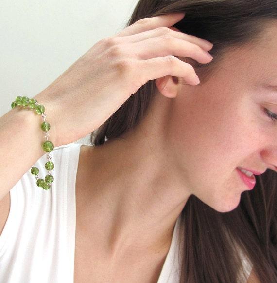 Peridot Prayer Bead Bracelet, Chakra Bracelet, Spiritual Jewelry in Gemstones & Sterling Silver or 14k Gold Filled