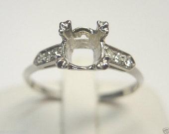 Antique Round Diamond Platinum Engagement Ring Setting | setting will hold- 6.5 MM (1 Carat)