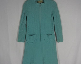 Vintage 60s Wool Knit Dress S Cable Texture Long Sleeves Zipper Front