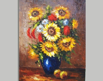 "Original Modern Thick Palette Knife Floral wall decor Oil Painting on Canvas sunflower Ready to Hang by Qujun 24""x36"""