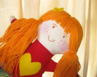 rag doll girl/orange hair rag doll/natural cloth doll/soft toy