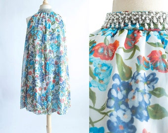 Vintage 60s dress   1960s Tent Dress   Blue Floral Chiffon Evening Dress