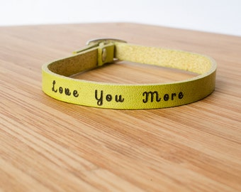 Love You More Custom Skinny Adjustable Leather Bracelet I Love You