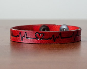 Skinny Heartbeat with Heart Adjustable Snap Closure Bracelet Cuff