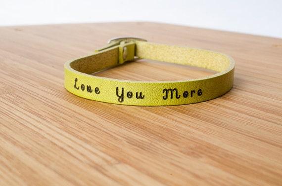 Love You More Custom Skinny Adjustable Leather Bracelet I Love You