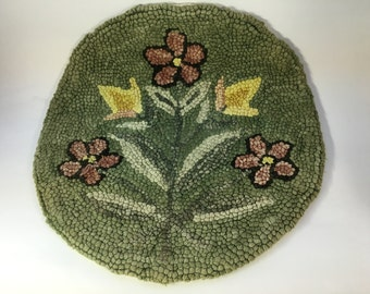 Vintage Handmade Hooked Chair Seat Cushion Pad -  Floral Design