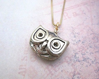 Tiny Owl Pendant Necklace -- Owl Head Necklace -- Owl Necklace -- Owl Jewelry -- Layering Necklace -- Gold Owl Necklace