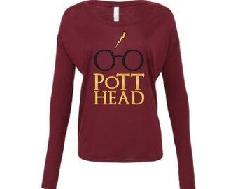 Harry Potter Shirt - Pott Head Shirt Long Sleeve Maroon The Original Pott Head Shirt, The Perfect Gift for the Harry Potter Fan in your life