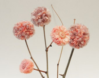 Pom Pom Flowers - Peach and Dusty Rose - Pink Flowers - Rustic Weddings - Shower Centerpiece - Baby Nursery/Kids' Room Decor - Simple Decor
