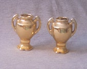 Dollhouse Vases, Entry Way Decor, Gold, Pair