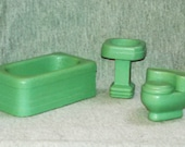 REDUCED Strombecker Dollhouse Bathroom, Gree, Three Pcs.