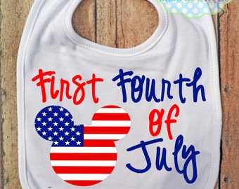 First Fourth of July Bib - Mickey Mouse - Independence Day - 4th of July
