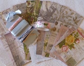 BOGO Washi Tape - DIY Tim Holtz Valley Flower Kit, Pattern Papers and Ribbon Sampler with Muted Colors