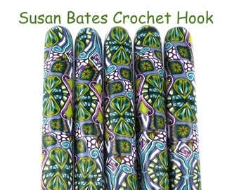 Crochet Hook, Polymer Clay Covered Susan Bates Crochet Hook, Fun, Blue, Green, Purple Design, Made to Order