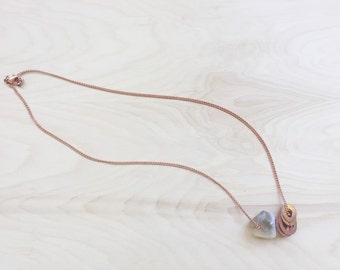 Tan Stone and Copper Talisman Necklace