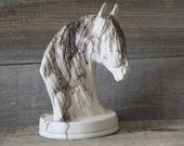 Friesian, Gypsy Vanner- Horse Hair Pottery Statue, Wyoming Made