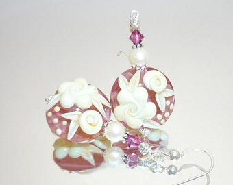 Pink Earrings, Lampwork Earrings, Glass Bead Earrings, Pearl Earrings, Glass Earrings, Cameo Rose Earrings, Floral Earrings, Flower Earrings