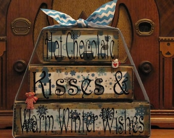 Winter  Sign, Christmas Sign, Hot Chocolate Kisses & Warm Winter WIshes, Winter Decor Word Blocks Sign