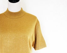 vintage gold metallic shirt / short sleeve top, shimmer sparkle, evening party, mock turtleneck, large